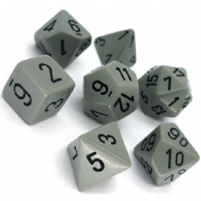 Grey & Black Opaque Polyhedral 7 Dice Set